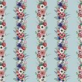 Modèle sans couture floral vertical d'aquarelle Bouquet peint à la main avec l'anémone rouge, blanche, bleue, ranunculus, succule Photos libres de droits