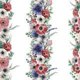 Modèle sans couture floral vertical d'aquarelle grand Bouquet peint à la main avec l'anémone rouge, blanche, bleue, ranunculus Images stock