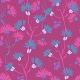 Modèle sans couture floral violet texturisé peint à la main Photo stock