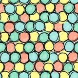 Modèle sans couture, formes de cercle de griffonnage illustration stock