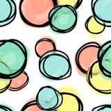 Modèle sans couture, formes de recouvrement de cercle de griffonnage illustration libre de droits