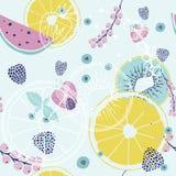 Modèle sans couture frais avec des fruits et des baies illustration stock