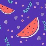 Modèle sans couture frais avec des fruits et des baies illustration de vecteur