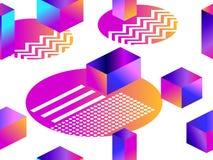 Modèle sans couture futuriste avec des formes géométriques Gradient avec des tons pourpres forme 3d isométrique Rétro fond de Syn illustration de vecteur
