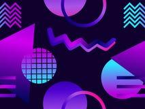 Modèle sans couture futuriste avec des formes géométriques Gradient avec des tons pourpres Rétro fond de Synthwave Retrowave Vect illustration de vecteur