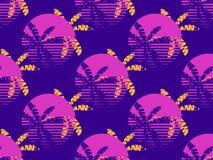 Modèle sans couture futuriste de palmier et de soleil Rétro style des années 1980 de fond de Synthwave Retrowave Vecteur illustration stock