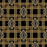 Modèle sans couture géométrique à carreaux grec de l'or 3d Résumé moderne Photo stock