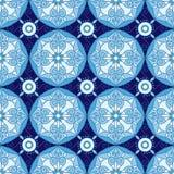 Modèle sans couture géométrique abstrait avec l'ornement floral dans le bleu et la couleur de marine Photo libre de droits