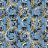 Modèle sans couture géométrique abstrait du vecteur 3d Grunge bleu-clair illustration libre de droits