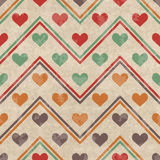 Modèle sans couture géométrique avec des coeurs Photo libre de droits