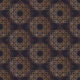 Modèle sans couture géométrique avec des places dessinées avec les courbes de niveau d'or sur le fond noir Contexte abstrait Vect illustration de vecteur