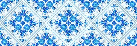Modèle sans couture géométrique bleu avec les éléments floraux peints dans le style de carreaux de céramique illustration libre de droits