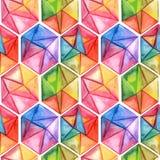 Modèle sans couture géométrique d'aquarelle de vecteur avec des hexagones Photos libres de droits