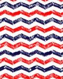 Modèle sans couture géométrique de chevron grunge de rouge bleu et de blanc, vecteur Image libre de droits