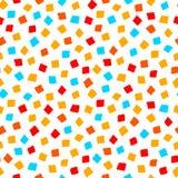 Modèle sans couture géométrique de forme carrée bleue rouge colorée de jaune orange, vecteur Image libre de droits
