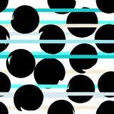 Modèle sans couture géométrique de vecteur mignon Points et rayures de polka Rappes de balai Texture grunge tirée par la main Rés Photos stock