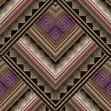 Modèle sans couture géométrique tribal rayé Moyen grec de clé de vecteur Image libre de droits
