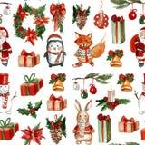 Modèle sans couture gai de Joyeux Noël de houx illustration de vecteur
