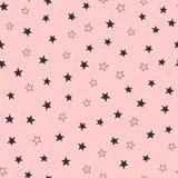 Modèle sans couture girly mignon avec les étoiles dispersées Copie de fille sans fin Image stock