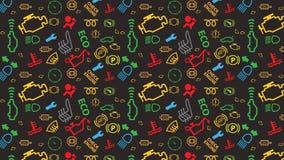 Modèle sans couture gris de vecteur Texture d'icônes de tableau de bord de voiture Répétition des signes de code de dtc Coloré, i Image stock