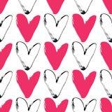 Modèle sans couture grunge de coeur sur le fond blanc Tiré par la main Image libre de droits