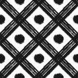 Modèle sans couture grunge des rayures et du cercle diagonaux blancs noirs Photos libres de droits