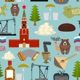 Modèle sans couture guidé de la Russie Moscou Kremlin et samovar illustration libre de droits