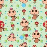 Modèle sans couture heureux mignon de champignon de mascotte Photographie stock libre de droits