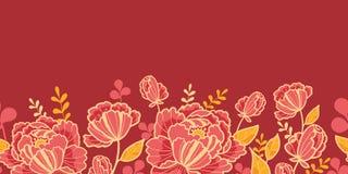 Modèle sans couture horizontal d'or et de fleurs rouges Photo libre de droits