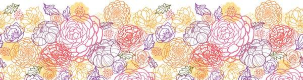 Modèle sans couture horizontal de fleurs douces Photographie stock libre de droits