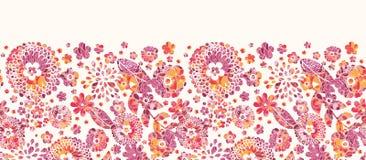 Modèle sans couture horizontal de fleurs texturisées Photos stock