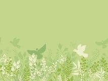 Modèle sans couture horizontal de nature verte Photo stock