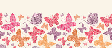Modèle sans couture horizontal de papillons floraux Images stock