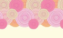 Modèle sans couture horizontal de texture de cercle de griffonnage Photo stock