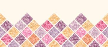 Modèle sans couture horizontal floral de tuiles de mosaïque Photo libre de droits