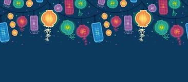 Modèle sans couture horizontal rougeoyant de lanternes Image libre de droits