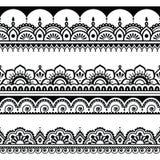 Modèle sans couture indien, éléments de conception - style de tatouage de Mehndi illustration stock