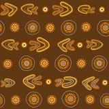 Modèle sans couture indigène australien de vecteur avec les cercles, les anneaux et les boomerangs pointillés Photographie stock