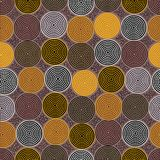 Modèle sans couture indigène australien de vecteur avec les cercles pointillés et les places tordues Photographie stock libre de droits