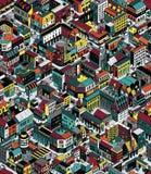 Modèle sans couture isométrique coloré de blocs de ville - taille moyenne illustration de vecteur