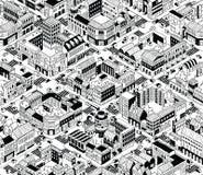 Modèle sans couture isométrique de blocs urbains de ville - milieu illustration de vecteur