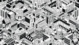Modèle sans couture isométrique de blocs urbains de ville - petit illustration stock