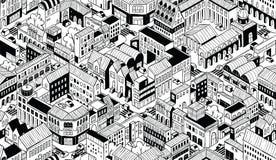 Modèle sans couture isométrique de blocs urbains de ville - petit illustration de vecteur