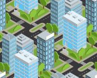 Modèle sans couture isométrique de ville de jour Image stock