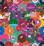 Modèle sans couture japonais de couleur d'étoile d'hexagone Images stock