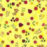 Modèle sans couture jaune avec des fleurs Photos libres de droits