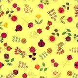 Modèle sans couture jaune avec des fleurs Images libres de droits