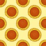 Modèle sans couture jaune avec des tournesols Photographie stock