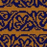 Modèle sans couture jaune et bleu tricoté ethnique Images stock
