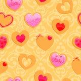 Modèle sans couture jaune mignon de Saint-Valentin illustration libre de droits